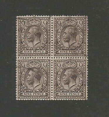 KGV 1912 Stamp 9d Black Block of  4 with Royal Cypher Watermark SG 392 Used