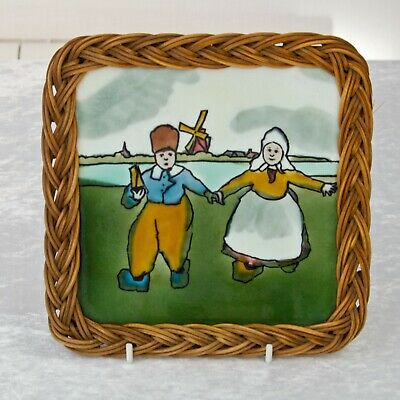 Majolica Lead Glaze Richards Tile Dutch Scene with Boy & Girl Cane Teapot Stand