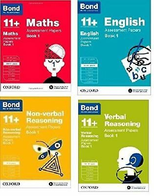 Bond 11+ Plus Assessment Papers 4 Books English Maths Verbal Reason 10-11 Year