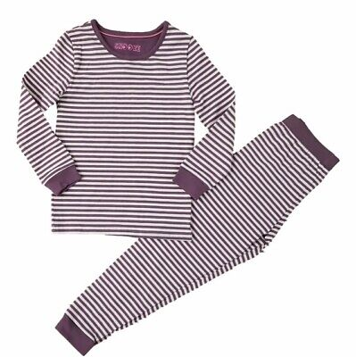 Girls Ex M & S Purple Stripe Snuggle Fit Pyjamas 18/24m - 4/5 Years Brand New