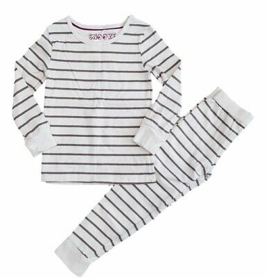 Girls Ex M & S Grey & White Stripe Snuggle Fit Pyjamas 5-14 Years Brand New