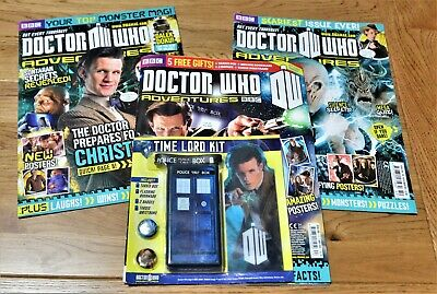 Dr Who Adventures Magazine - Issues 240, 245, 293 With Time Lord Kit / Bookmark