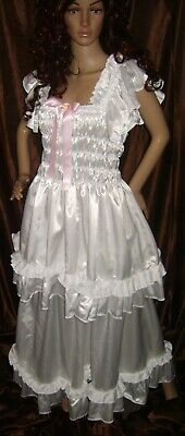 Prissy Sissy Maid Adult Baby White Faux Satin Elegant Full Length Negligee