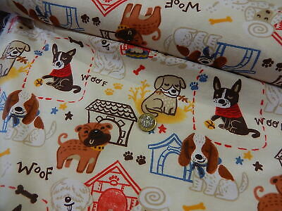 100/% cotton 22168 You had me at WOOF Fabric cute dogs on teal   fat 1//4s