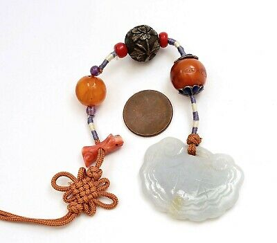 Chinese Jade Jadeite Carved Lock Pendant Coral Egg Yolk Amber Bead Charms Toggle