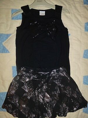 NEXT black and silver skirt , tunic top with bow and leggings 7 years Party