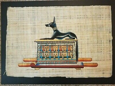"Ancient Egyptian Anubis on Pedestal-Adel Ghabour COA-Papyrus Large 17""x25"""