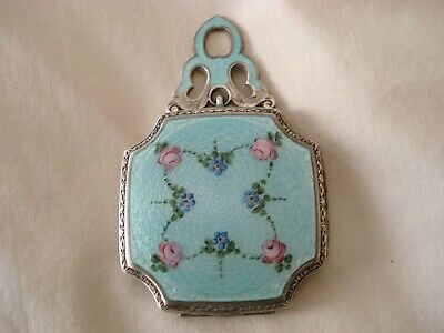 Antique Sterling Silver Guilloche Enamel Powder Compact Box Painted Art Deco