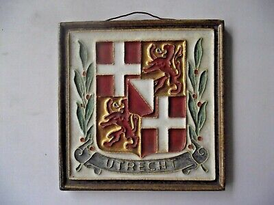 Vintage Utrecht Coat Of Arms Delft Pottery Ceramic Tile Wall  Plaque Holland