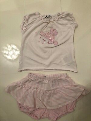 Ido Baby Girls White & Pink Applique Top And Skirted Shorts/Skort Set- 9 Mths