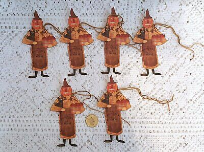 6~Primitive~Pumpkin Head Witch~Fall~Autumn~Gift~Hang~Tags~Ornies