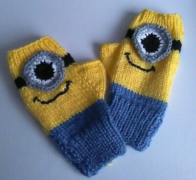 BN Despicable Me Inspired Hand Knitted Childrens Fingerless Gloves 6 - 9 Yrs M/F