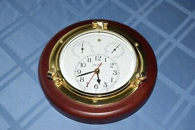 Vintage Nautical Seth Thomas Meridian #1046 Clock With Hygro & Thermo Gages