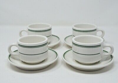 4 Homer Laughlin Expresso Cups & Saucers Restaurant Ware Green Stripes Stackable
