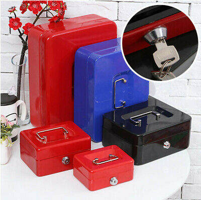 Portable Metal Cash Safe Box Strongbox With Lock Coin Storage Box Cash Register