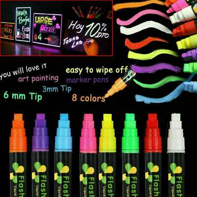 8 Colors 6mm Dual Nib Neon Liquid Chalk Pen Marker Blackboard Glass Window Menu