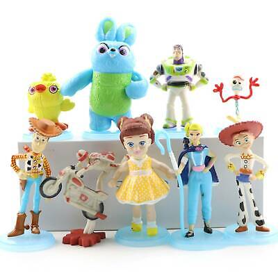 9Pcs Collection Woody Lightyear Rex Alien Forky Buzz Bunny Figure Cake Topper
