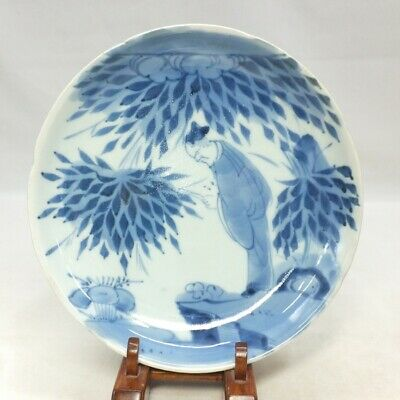 D038: Real Japanese plate of OLD KO-IMARI blue-and-white porcelain in 18c