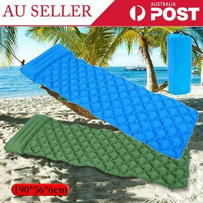 Ultralight Inflatable Camping Hike Air Mattress Blow Up Bed Sleeping Mat +Pillow