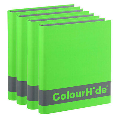 4PK ColourHide A4 200 Sheets Silky Touch Ring Binder/File/Paper Organiser Green