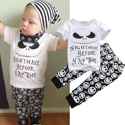 Nightmare Before Toddler Baby Clothing Set Xmas T-shirt Tops Long Pants Outfits