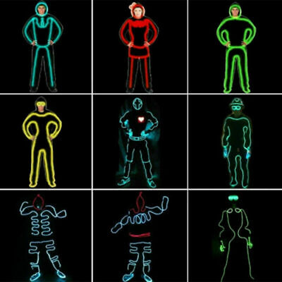 EL Wire Neon RGB Color Lights LED Stick Figure Kit Innovation for Clothes UK