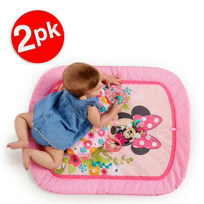 2x Bright Starts 0m+ Baby/Infant Toys Minnie Mouse Garden Party Tummy Prop Mat