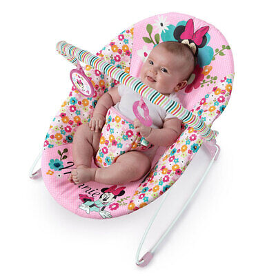 Bright Starts Minnie Mouse Vibrating Bouncer w/ Toys Babies/Girls 0m+ Pink