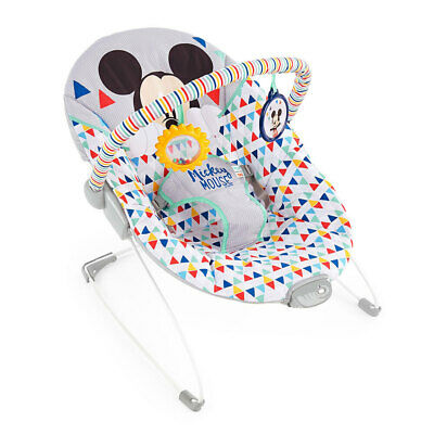 Bright Starts Mickey Mouse Happy Triangles Vibrating Rocker f/ Baby/Toddler 0m+