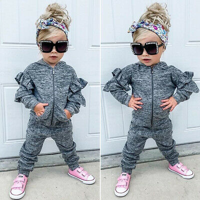 Kids Baby Girls Winter Clothes Ruffle Zipper Hoodie+Long Pants Outfit Tracksuit