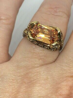 Unusual Art Deco Style Antiqued Gold on Solid 925 Silver & CZ Dress Ring Size P
