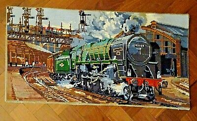 Finished Vintage Large Completed Evening Star Train Tapestry