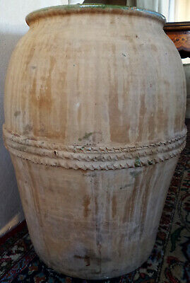 Antique Tone Flowers Large Vase Amphora Terracotta Ceramics Old Oil Wine Home