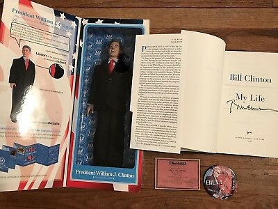 President Bill Clinton Signed Autographed Book Action Figure Doll Proof Hillary