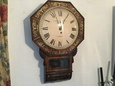 19th CENTURY REGENCY DROP DIAL BRASS INLAID FUSEE  WALL CLOCK  CAMERER CUSS