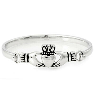 .925 Solid New Beautiful Claddagh Bangle Bracelet Sterling Silver