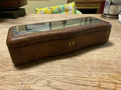 Victorian Antique Glove Box Vanity Leather Glass Jewellery Dressing Table Case