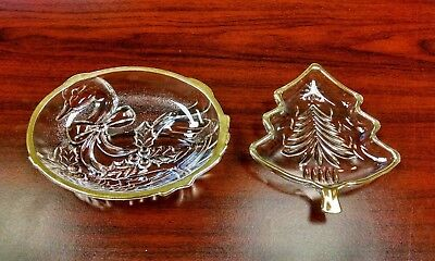 Set of 2 Mikasa Crystal Glass Candy Dish Golden Goose & Yuletide Christmas Tree
