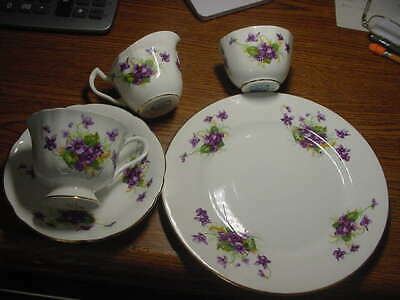 Clarence Bone China 5 Pc Lunch Set, Cup, Saucer,& Plate,Creamer & Sugar,Violets: