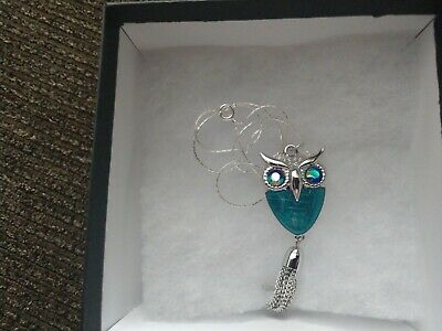 "Beautiful 18"" Necklace With Silver And Turquoise Owl Pendant Silver Plated"