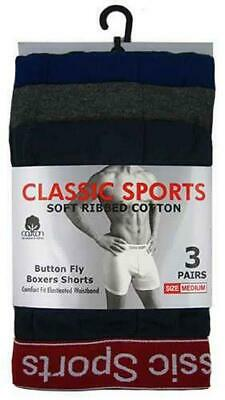 3 Mens Classic Sports Cotton Boxer Shorts Trunks Underwear / Red Waistband