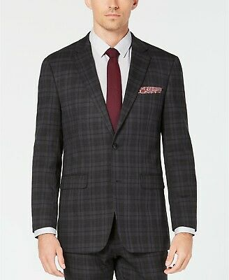 $320 Perry Ellis 40L Men's Gray Slim Fit Suit Coat Plaid Sport Blazer Jacket