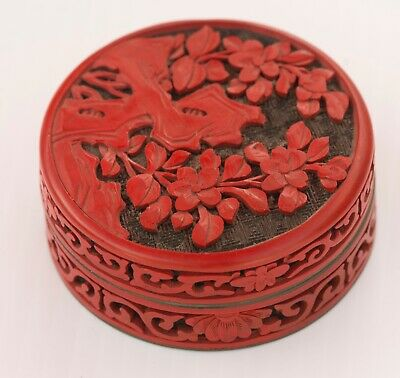 Vintage Chinese Carved Cinnabar Round Trinket Box On Blue Enamel & Brass As Is