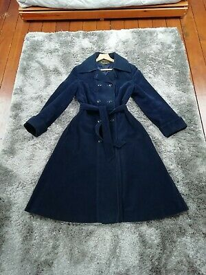 Vintage St Michael navy cotton cord trench coat size 10-12