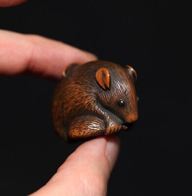 antique Japanese carved boxwood Netsuke of a Rat, 19th century, Meiji, SUPERB!!