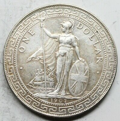 China Hong Kong 1907 B Trade 1 Dollar Moneda Plata Mbc+