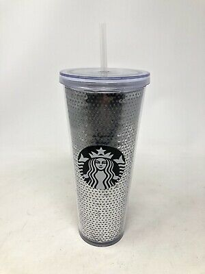 NWOB Starbucks Silver Sequin Venti Cold Cup 24 Oz Tumbler Coffee With Straw