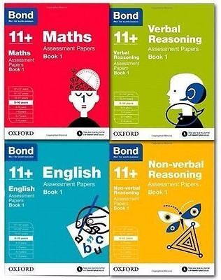 Bond 11+ Plus Assessment Papers 4 Books English Maths Verbal Reason 8-9 Year.