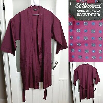 Vintage St Michael Red Print Silky Dressing Gown Smoking Jacket Androgynous L