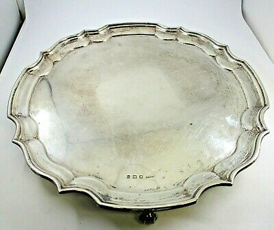 """H. Fisher & Co. Sheffield Sterling Silver Footed Tray With Scalloped Border 12"""""""